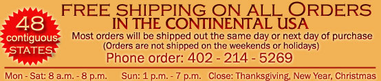 Free Shipping in 48 contiguous states
